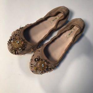 Miu Miu Shoes - Miu Miu blush suede jeweled flats